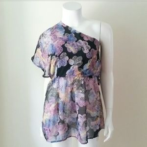 Angie Purple Black Feather One Shoulder Blouse NWT